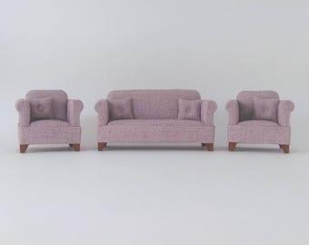Dollhouse Miniature Lounge Suite - LIGHT MAUVE