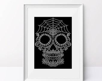 White skull cross stitch pattern Sugar skull cross stitch Halloween cross stitch design Sugar skull pdf pattern Counted cross stitch design