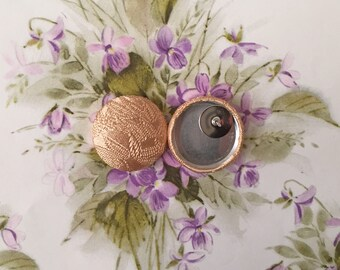 Button Earring / Fabric Covered / Gold Bamboo Print / Wholesale Jewelry / Stud Earring / Small Gift / Hypoallergenic Earring