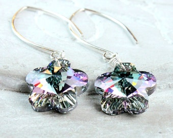Swarovski Earrings Sterling Silver Purple Swarovsky Crystal Jewelry Sparkly Earrings Handmade Accessories Austrian Jewellery