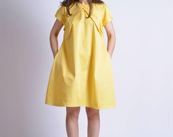 Summer Women Dress, Knee Length Dress, Oversized Dress, Yellow Dress, Pleated Dress, Short Sleeve Dress, Short Summer Dress, Casual Dress