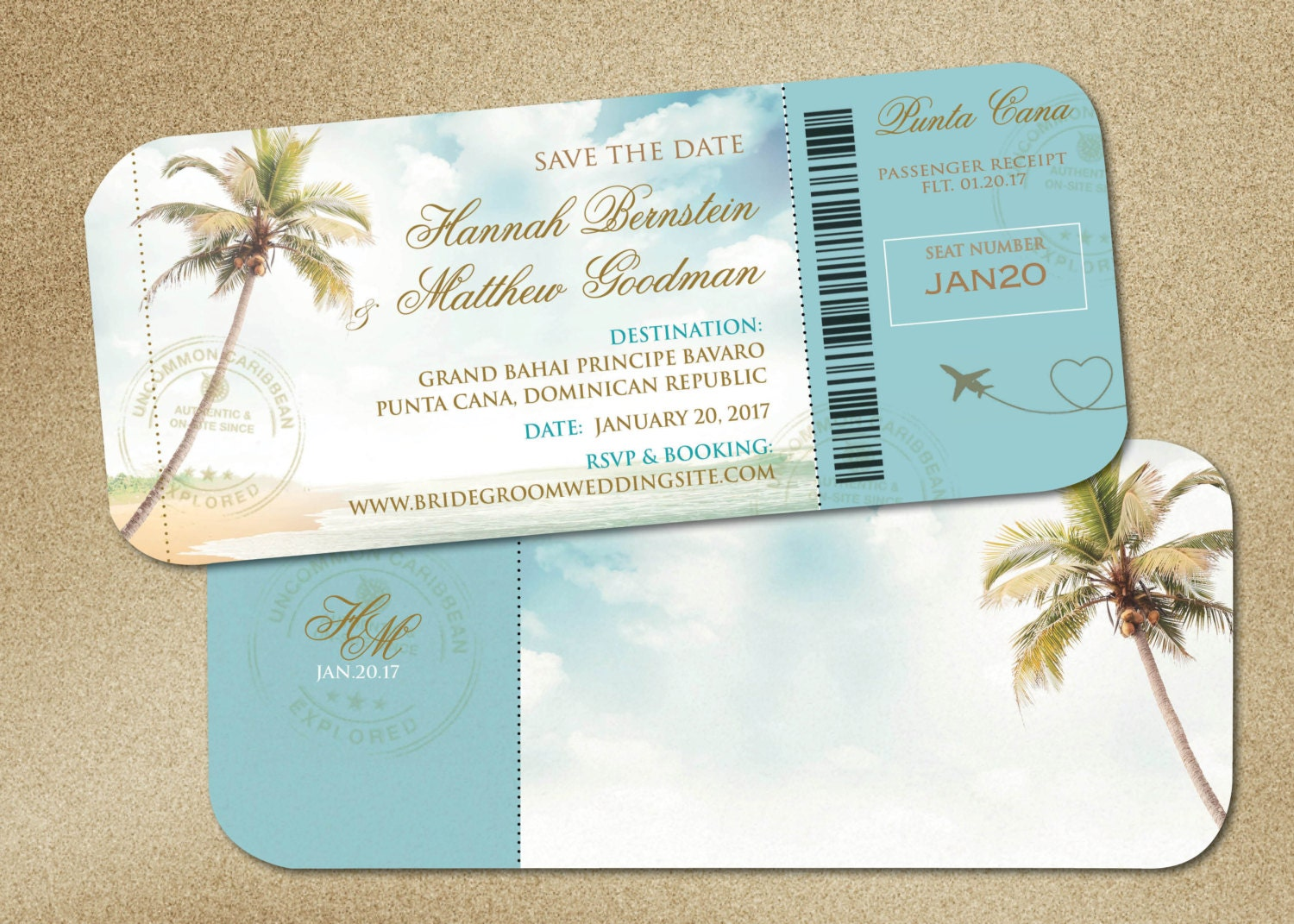Wedding Boarding Pass Save the Date Travel Destination