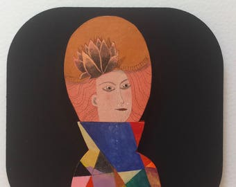 "Miniature painting ""Copper Lady with hat"""