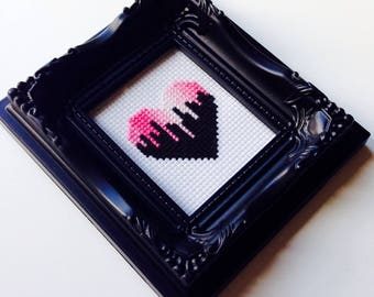 Heart | Pink | Retro | Love | Anniversary | Valentines | Wedding | Gift | Framed | Cross Stitch