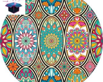 1 glass cabochon 16 mm theme fabric
