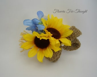 Double Sunflower and Burlap Corsage, Silk Bridal Flowers, Rustic blue & yellow Woodland Wedding Accessory, FFT design, made to order