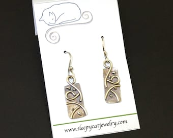 Argentium Silver Swirls  Layered  on Metal Earrings