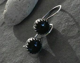 Sale-Rustic Earrings - Minimalist -Earrings-Artisan Jewelry -OOAK-Handmade Jewelry -Black Onyx gemstone.