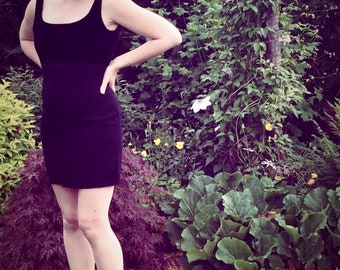 90s black fitted body con dress