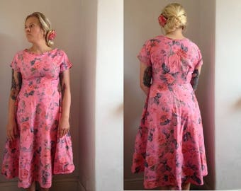 Vintage 1950's Rose Dress, size small-medium