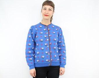 Vintage Blue Daisy Spring Cardigan / 30's Inspired / Wool Cardigan Sweater / Puff Sleeve / Women's Size Small / Medium / Large