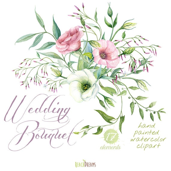 Wedding Bouquet Hand Painted Clipart Watercolor Lisianthus