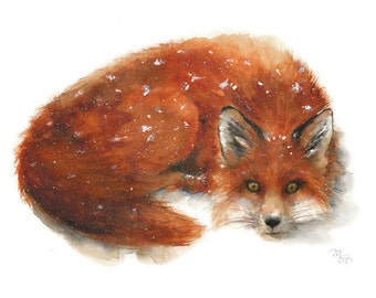Fox watercolor painting. Art Print. Nature or Animal Illustration. Rust and Orange.