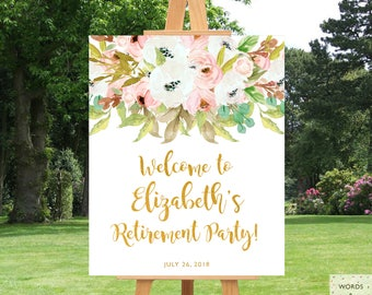Retirement Party Decorations For Women, Elegant Retirement Party, Retirement Party Ideas, Retirement Party Decor, Printable Sign, Banner