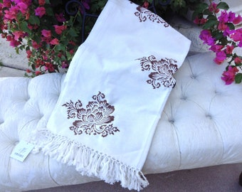 Hand Blocked & Hand Printed Designer Brown and White Tablecloth with Fringe