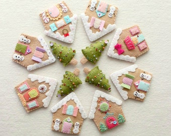Gingerbread Houses - Instant Download pdf Pattern