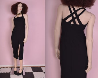 90s Black Crossed Strap Dress/ US 4/ 1990s