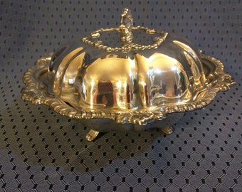 Footed Silver Plate candy dish