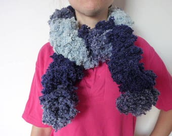 Hand knitted scarf with Ruffles, shades of blue,
