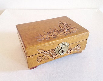 Vintage Wood Carved Small Asian Jewelry Box