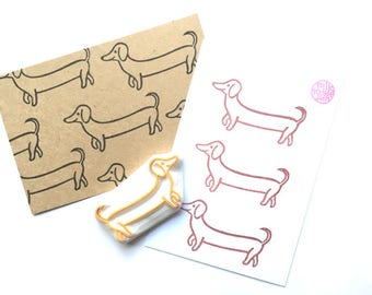 dachshund rubber stamp | sausage dog | puppy dog | animal stamp | birthday card making | diy dog lover gift | hand carved by talktothesun