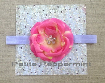 Pink Baby headband, newborn headband, infant headband, toddler headband, Pink Hair Bow, Baby Headband Flower