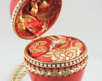 Red Engagement Ring Box, Red Presentation Box, Wedding Ring Box, Classic Faberge Ring Box, Wedding Gift Idea, Faberge Decorated Egg