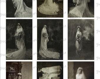 Vintage Brides Digital Download Collage Sheet