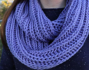 Light Purple Infinity Scarf, Knit Infinity Scarf, Chunky Scarf, Brioche Knit Scarf, Warm Winter Scarf, Purple Circle Scarf, Gifts for Her