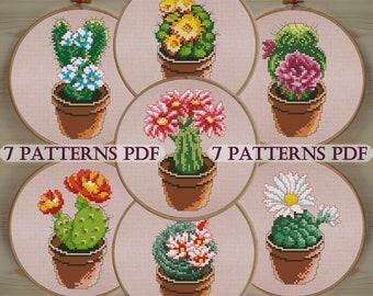 Сactus cross stitch pattern, counted cross stitch, Kitchen Decor, pattern PDF