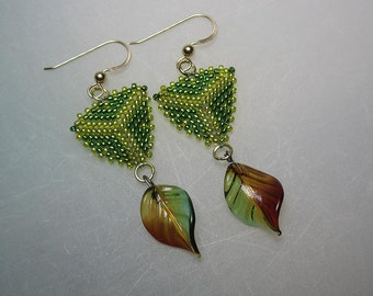 Glass Seed Bead Peyote Stitched and Blown Glass Leaf Earrings Green Red Gold