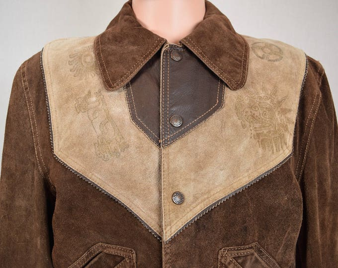Vintage 1970's EL TORO BRAVO Men's Western Native Aztec Stamped Mexican Suede & Leather HiPPiE Rock Star Jacket Size S 42