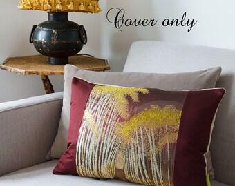 Metallic Pillow Cover, Kimono Pillow Sham, Japanese Cushion Cover, Obi Silk Pillow Case, Bamboo Forest Embroidery, Luxury Velvet Cushion UK