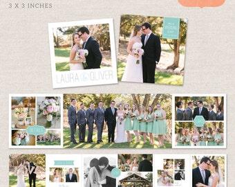3x3 Mini Accordion Album Template - Wedding album template for photographers MA002 - INSTANT DOWNLOAD
