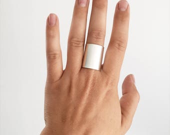 Shield Extra- Extra Wide Band Mixed Width Ring in Silver, Gold Filled, or Rose Gold Filled