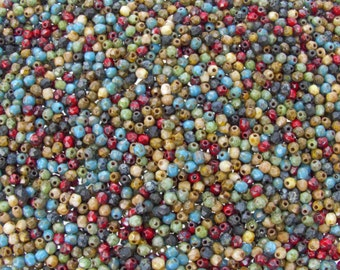 3mm Faceted Opaque Indian Summer Picasso Mix Firepolish Czech Glass Beads - Qty 100 (BS123)