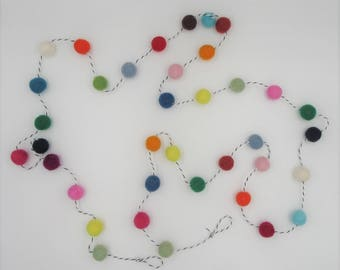 Felt Ball Garland, Rainbow Felt Ball Garland, Rainbow Pom Pom Garland, Party Banner, Party Decor