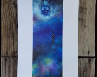 TARDIS in the clouds night sky stairway Doctor Who Art Print