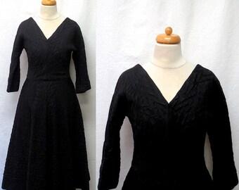 1950s Vintage Quilted Taffeta Dress / Black V Neck Dress