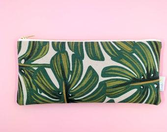 Monstera Pencil Case, Tropical Zipper Pouch, Rifle Paper Co Pencil Pouch, Green Pen Case, Makeup Brush Pouch, Art Supply Case Tropical Pouch