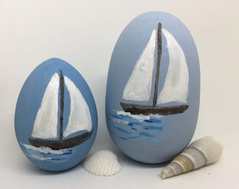 Hand painted Easter eggs, Nautical decor, Coastal decor, Personalized eggs, Wooden eggs, Sailboat painting, decorative Easter eggs