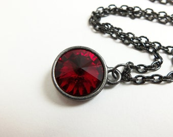 Blood Red Necklace Ruby Red Jewelry Deep Red Crystal Necklace July Birthstone Dark Gunmetal Jewelry Rivoli