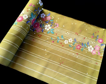 Vintage Japanese Kimono Fabric Chrysanthemums And Other Flowers Soft Khaki Green Ombre  14.6 inches x 1 Yard  (37.2cm x 1 M)