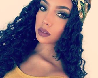 Green African Print head wrap   Turban Wax   Ankara headscarf   Wax print Headband   Ladies  Head Scarf