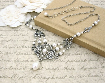 White Victorian Necklace - White Pearl Wedding Necklace - Swarovski Crystal Antique Silver Filigree White Victorian Wedding Jewelry