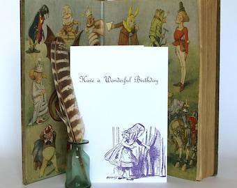 Alice in Wonderland - Letterpress Greetings Card - Have a Wonderful Birthday