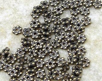 1000 TierraCast 3mm Beaded Spacer Beads - Antique Brass Beads - Brass Oxide Flat Daisy Spacers Heishi Bronze Beads Metal Beads (PAS1)