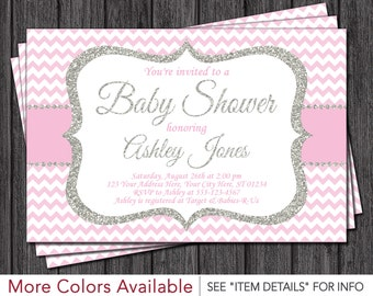 Baby Shower Invitation   Baby Pink and Silver