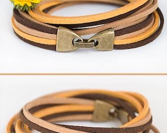 Autumn stylish bracelet Double wrap suede bracelet Multi strands bracelet Handmade jewelry For her Boho jewelry Holiday gift ideas