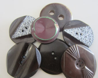 Vintage Buttons - 7 large and extra large heavy weight novelty dark brown buttons (mar 441)